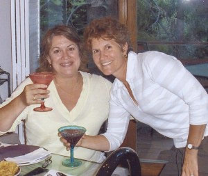 Sharon and me toasting