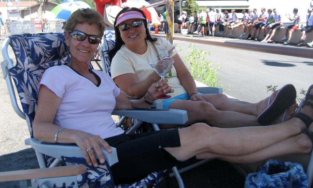 Relaxing at the finish line