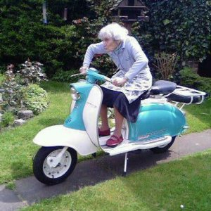 old lady on scooter