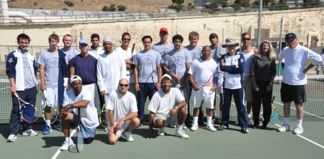 The Inside Tennis Team and volunteers on the newly surfaced court
