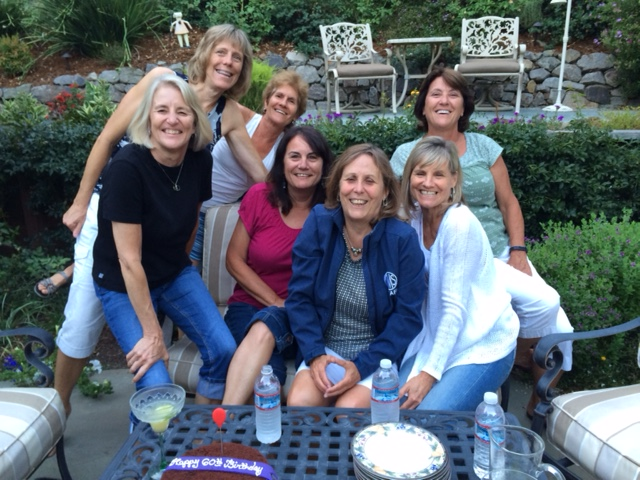 Celebrating 60 Kim, Sue, me, Maria, Sheila, Pam and Karen in back. Patty took the photo