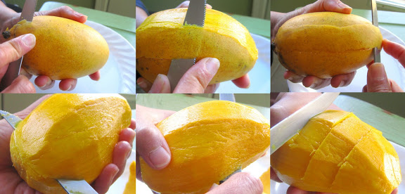 slicing a mango