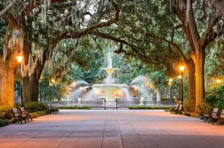 EWNBTM Savannah, Georgia, USA at Forsyth Park Fountain.