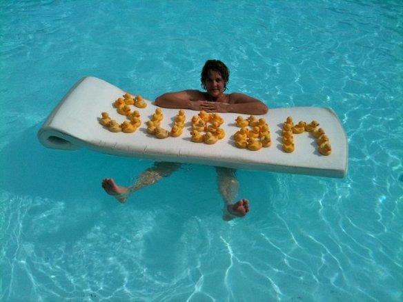 susan in pool