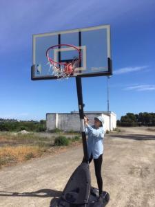 Toni with basketball hoop