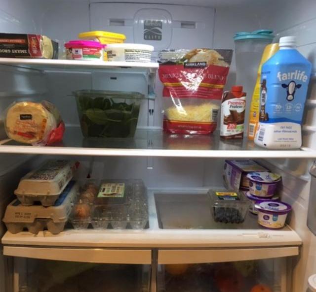 nearly empty fridge
